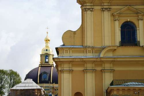 Cathedral Russian Church Orthodox Building Yellow