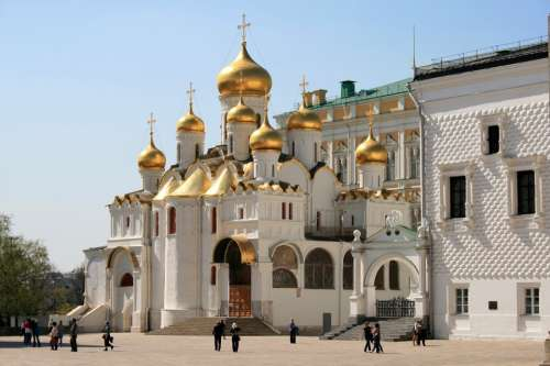 Cathedral Church White Building Golden Domes