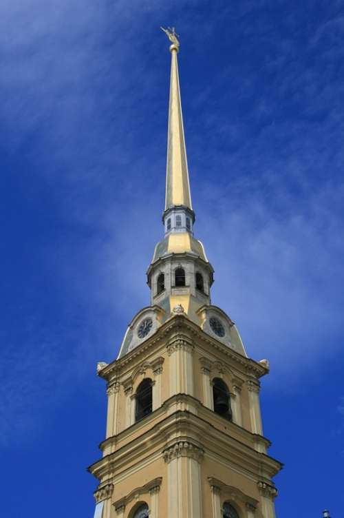 Cathedral Bell Tower Spire Golden Tall Landmark