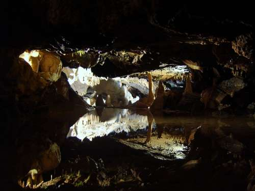 Cave Stalactites Stalagmites Reflection Water