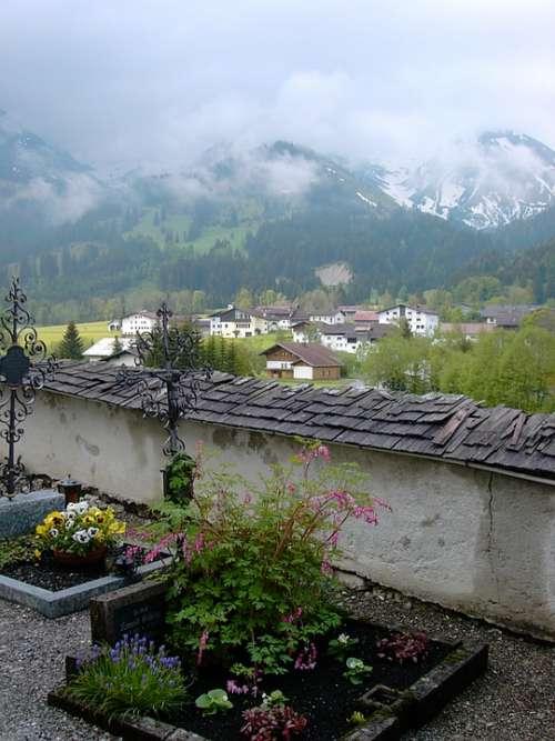 Cemetery Tyrol Cemetery Wall Cross Wrought Iron