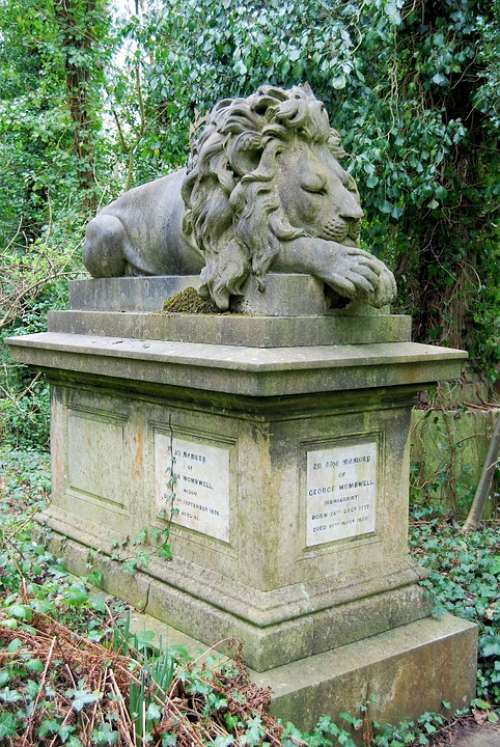 Cemetery Tombstone Grave Sculpture Monument Lion