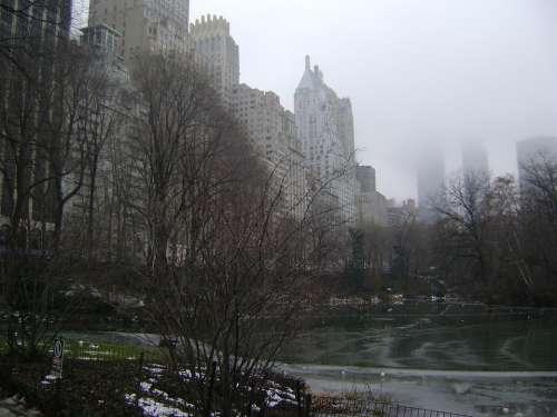 Central Park New York City Fog Manhattan Cityscape