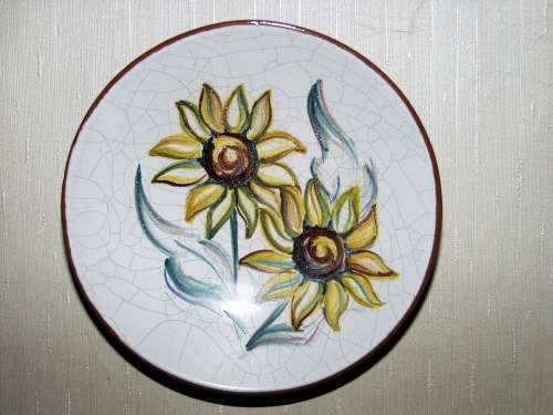 Ceramic Plate Decoration Flowers Colorful Fragile