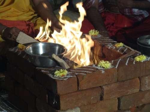 Ceremony Fire Prayers Agni God Of Fire Religious