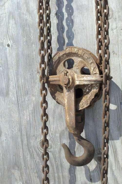 Chain Hoist Chain Pulley Hook Wood Rust Antique