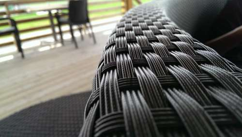 Chair Braided Black Outdoor Outside