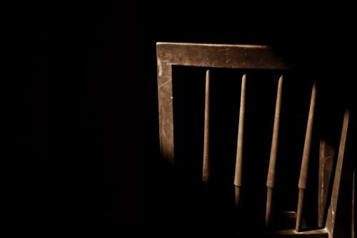 Chair Silhouette Wood Black Background