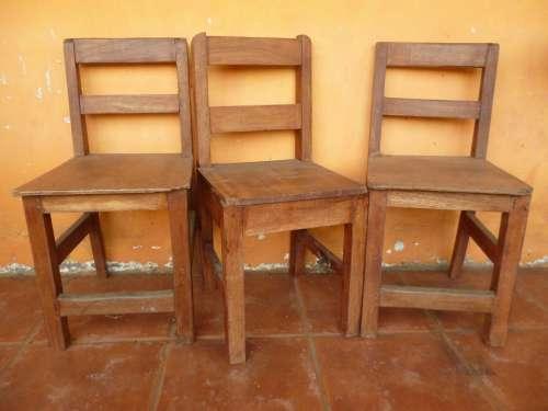 Chairs Orange Furniture Seats Three Wooden