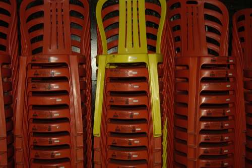 Chairs Stack Red Yellow