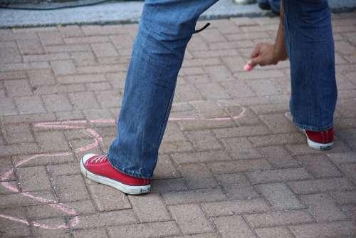 Chalk Outline Street Man Human Drawing Sketch