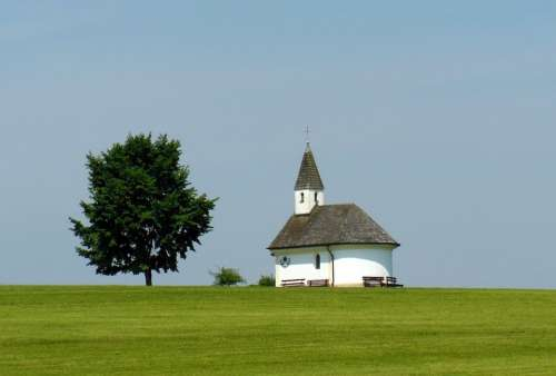 Chapel Chiemgau Tree Idyll Blue Sky Meadow