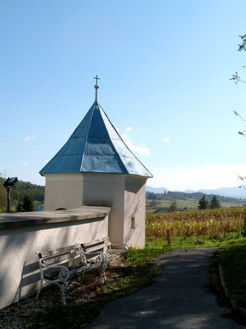 Chapel Rural Idyllic Pathway Bench Blue Roof