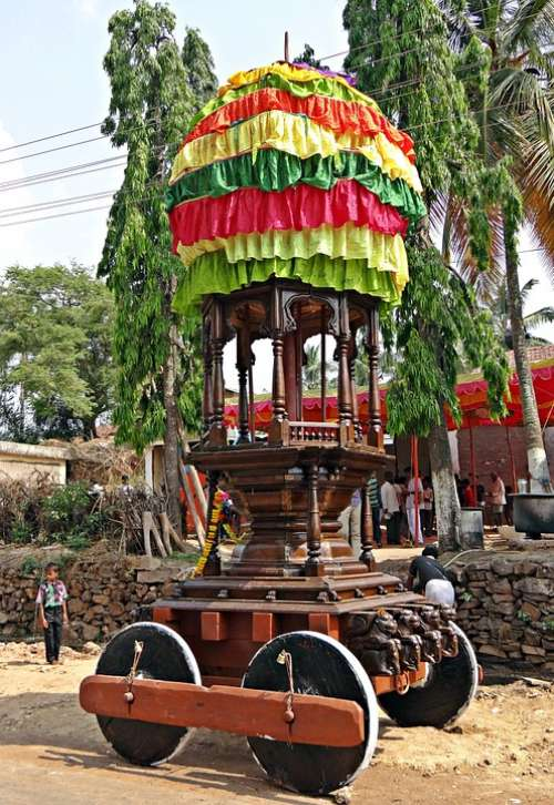 Chariot Decorated Wooden Local Festival Karnataka