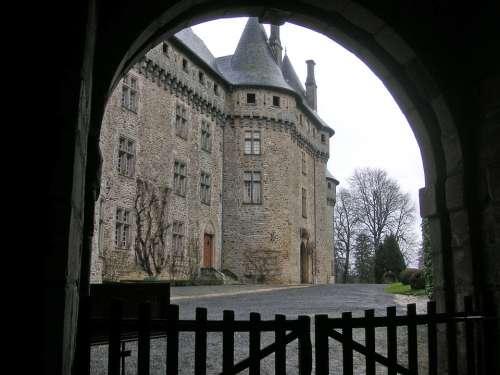 Chateau Castle French Chateau Gate Pompadour