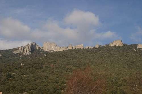 Château De Peyrepertuse Rock Castle Mountains