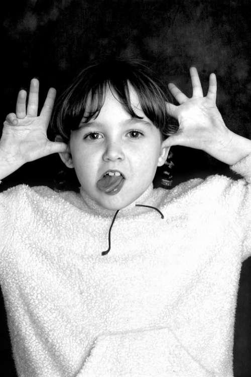 Cheeky Girl Cute Portrait Face Person White