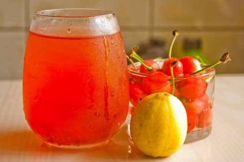Cherries Juice Lemon Fresh Refreshments Summer