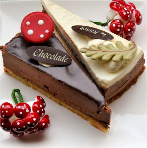 Cherry Cake Pastry Food Chocolate Christmas