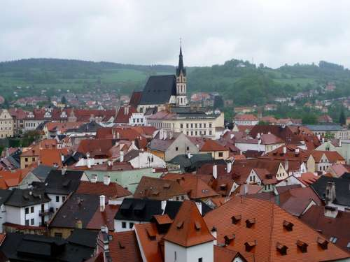 Chesky Krumlov City Architecture Rooftop