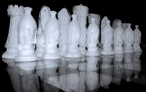 Chess Game Black White Chess Chess Pieces Ice