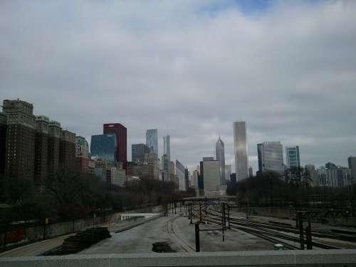 Chicago Michigan Illinois City Cityscape Cloudy