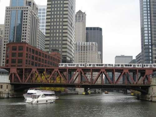 Chicago River Canal Bridge Urban
