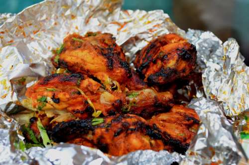Chicken Roasted Indian Fast Food Bbq Aluminum Foil