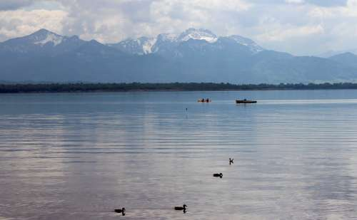 Chiemsee Landscape Mountains Lake Foresight