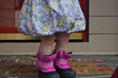 Child Girl Cute Pink Waiting Rain Boots Rainy Day