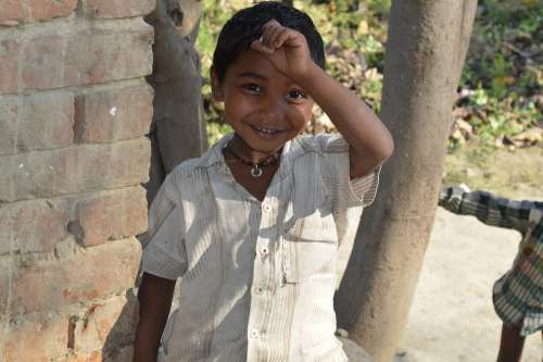 Child Indian Village Boy Smile People Happy