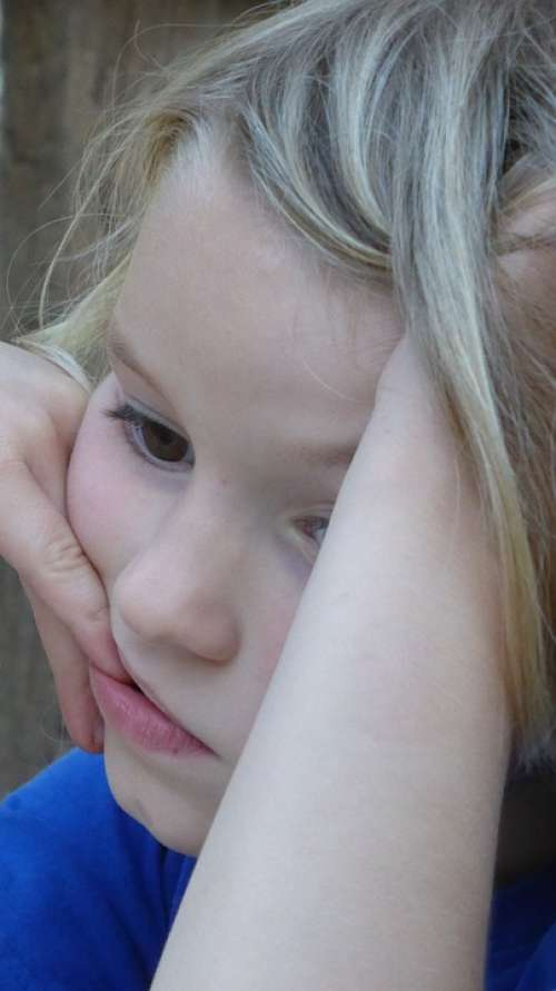Child Girl Face Hand Consider Thinking Blond