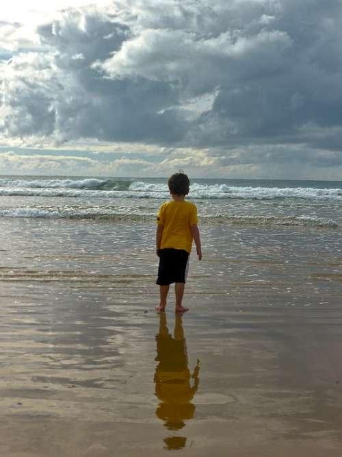 Child Boy Sand Beach Ocean Seascape Sea Water