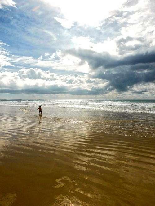 Child Boy Beach Ocean Seascape Sky Holiday