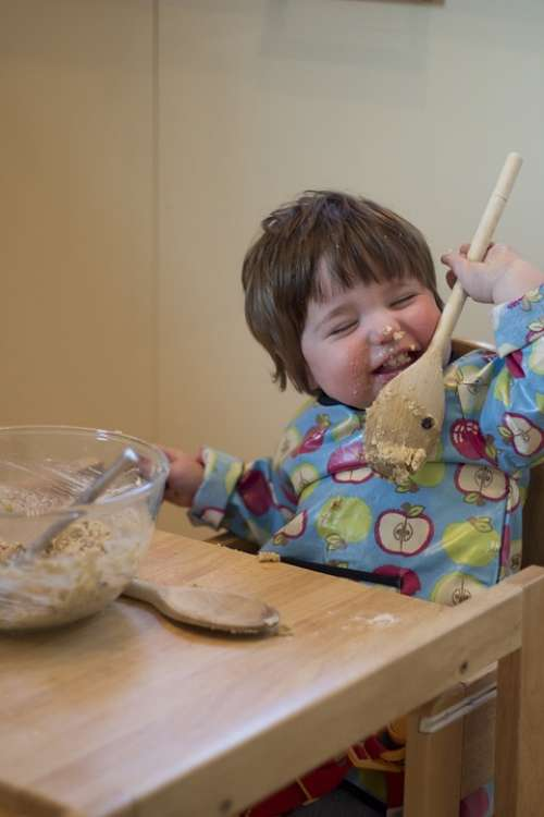 Child Cake Making Licking Spoon Fun Young Baby