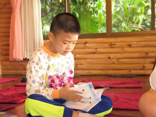 Child Boy Reading Learning Thailand Tailor Seat