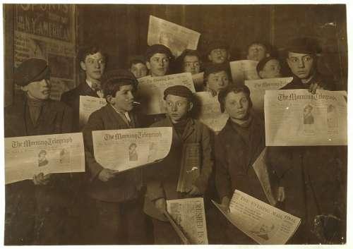 Child Labor Boys Group Newspaper Press Historic