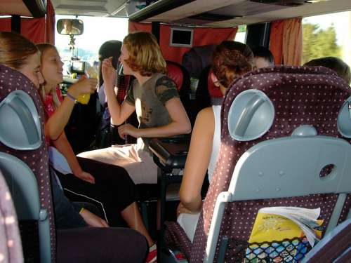 Children Girl Schoolgirl Bus Bus Ride Travel More