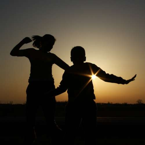 Children Silhouettes Sunset Shadow Joy Fun Young