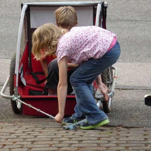 Children Play Bike Trailer Fun Girl Childhood Joy