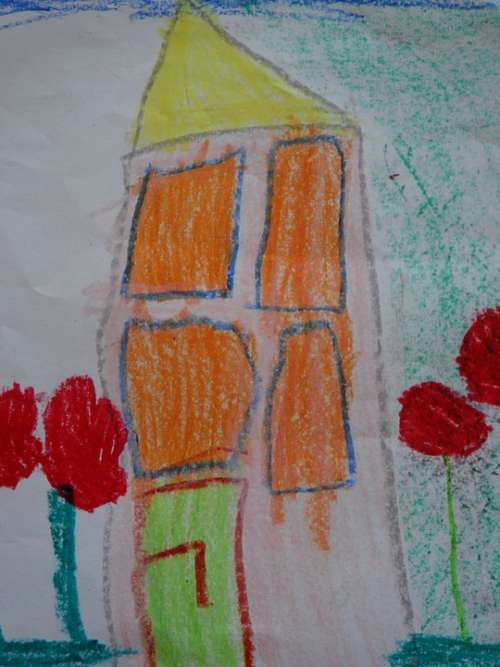 Children Drawing Drawing Painting House Color