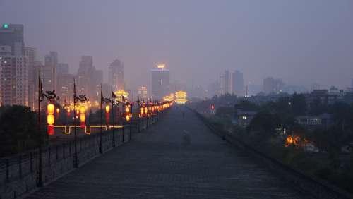 China Night Lights Wall Urban Xi'An