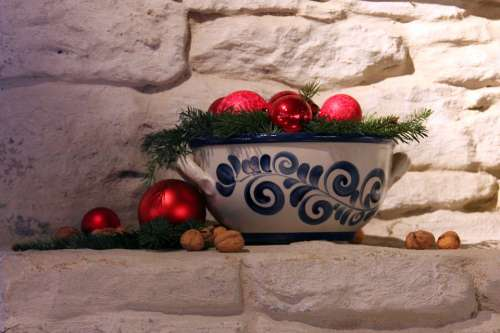 Christmas Bowl Deco Balls Red