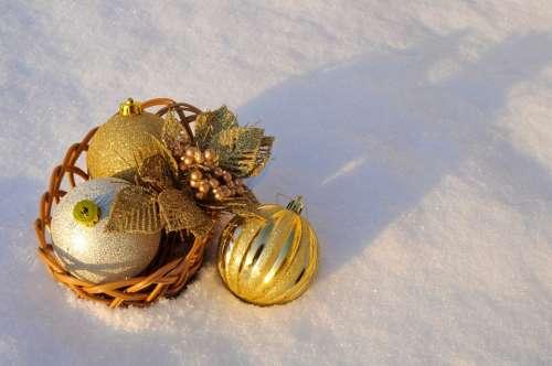 Christmas Holiday Balls Ornaments Snow Gold