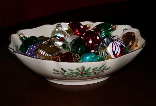 Christmas Bowl China Holly Ornaments Decorations