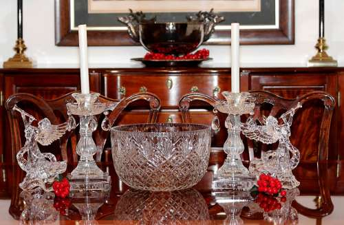 Christmas Centerpiece Punch Bowls Angels Candles