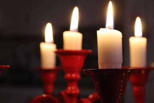 Christmas Lights In Red Candlestick Light Candle Wax