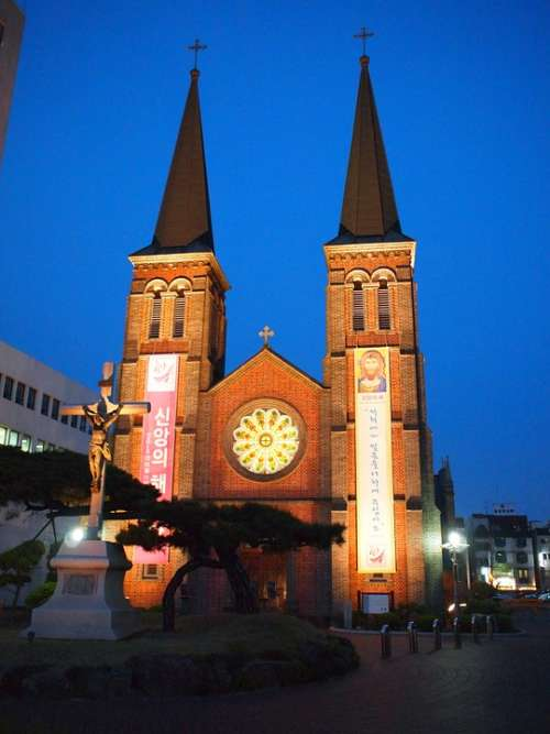 Church Daegu Korea Night Dome Cathedral