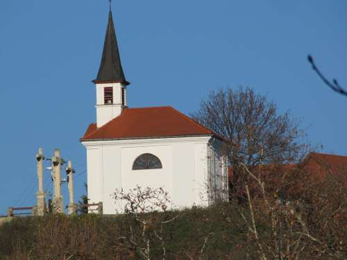 Church Cross Blue Chapel St Thomas Mount Sky