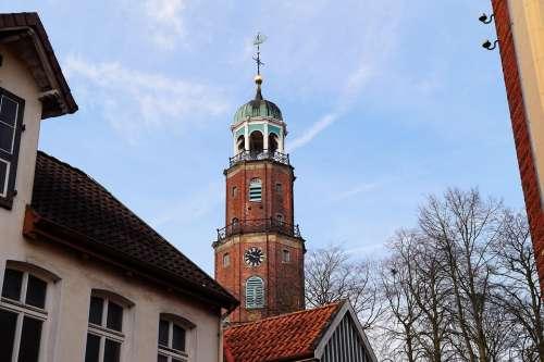 Church Empty East Frisia Steeple Church Clock